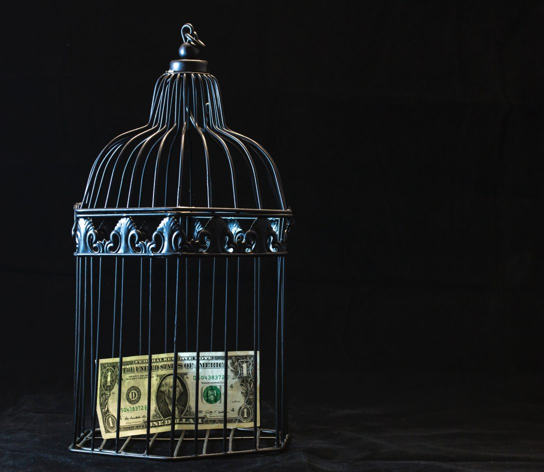 A caged dollar